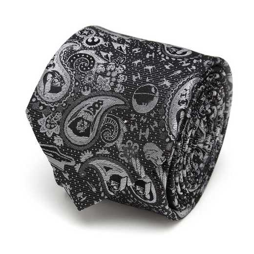 SW-VADR-BLK-TR: Vader Paisley Black and White Men's Tie