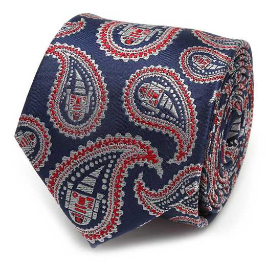SW-R2D2-BLRD-TR: R2D2 Blue and Red Paisley Men's Tie