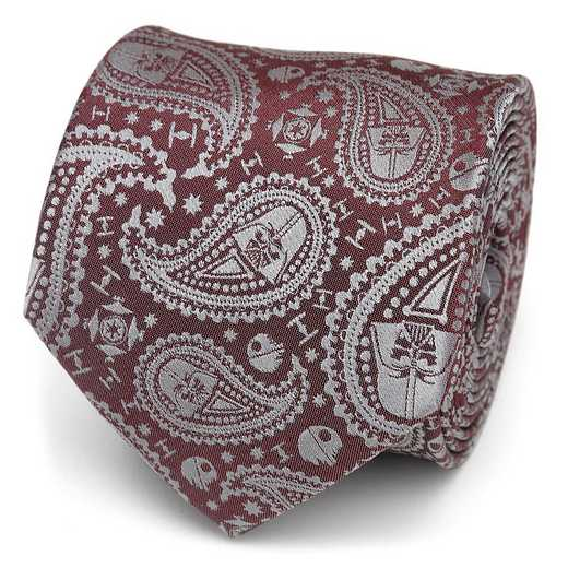 SW-VDR-PASY-RD-TR: Darth Vader Paisley Red Men's Tie