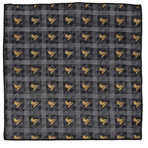 DN-LPOS-BK-PS: Lion King Pose Black Pocket Square