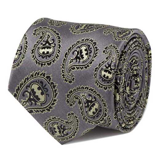 DC-BTPS-GRYL-TR: Batman Gray and Yellow Paisley Tie