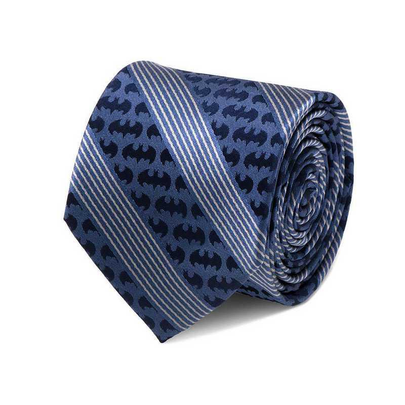 DC-BTPST-BL-TR: Batman Pinstripe Navy Tie