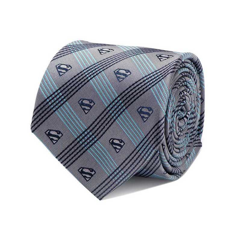 DC-SMPLD-GRYB-TR: Superman Gray Plaid Tie