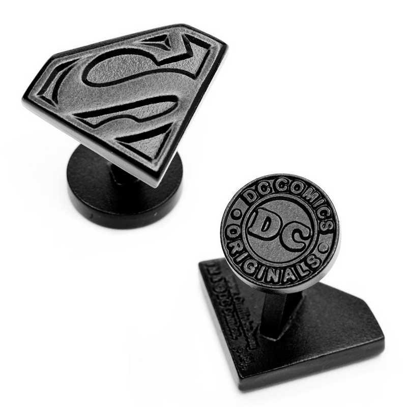 DC-SS-SB: Satin Black Superman Shield Cufflinks