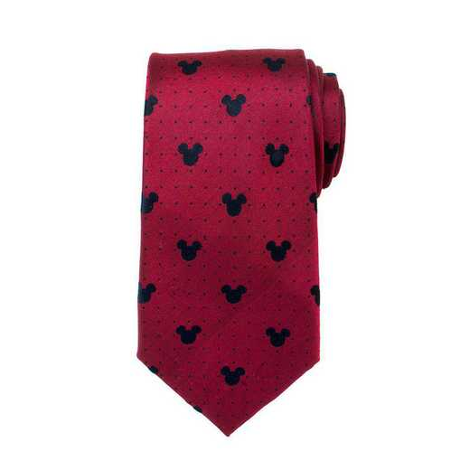 DN-MDT-RD-TR: Mickey Mouse Red Pin Dot Mens Tie