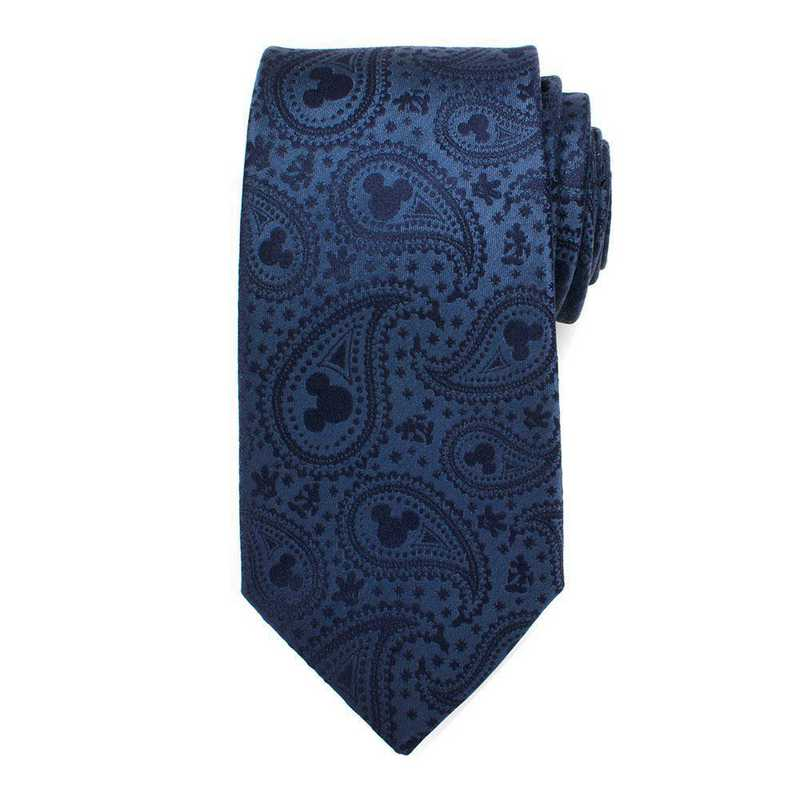 DN-MPS-BL-TR: Mickey Mouse Navy Paisley Mens Tie