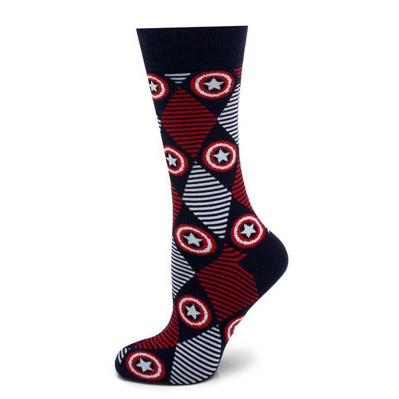 MV-CAARG-BL-SC: Captain America Navy Argyle Stripe Socks