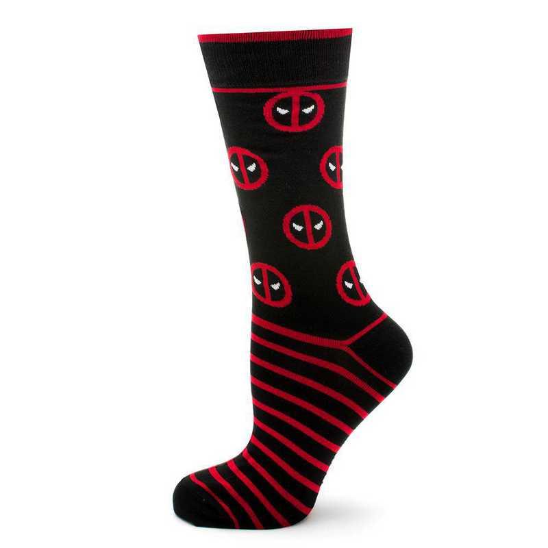 MV-DPST-BK-SC: Deadpool Stripe Black Socks