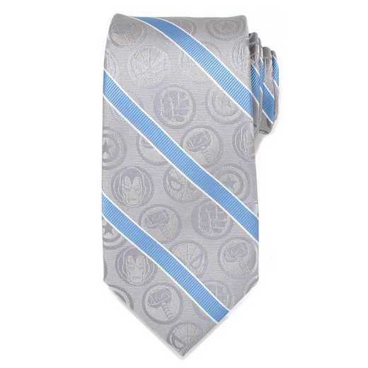 MV-ICONS-GRY-TR: Marvel Comics Grey and Blue Stripe Men's Tie