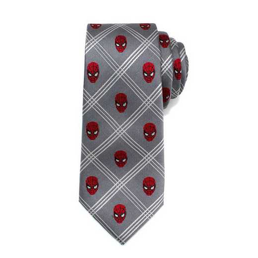 MV-SMPLD-GRY-TR: Spider-Man Gray Plaid Tie