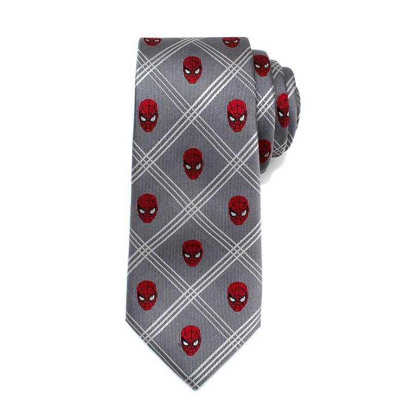 MV-SMPLD-GRY-TR: Spider-Man Gray Plaid Tie