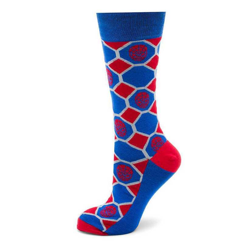 MV-SPCHKR-BL-SC: Spider-Man Blue Checker Socks