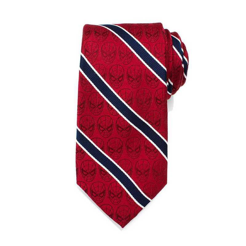 MV-SPST-RD-TR: Spider-Man Red and Navy Stripe Men's Tie