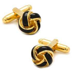 OB-KNT-BK-GL: Black and Gold Knot Cufflinks