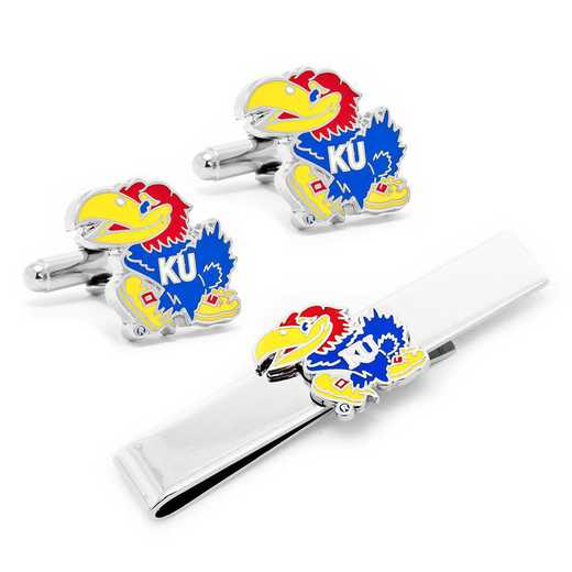 PD-KU-CT: University of Kansas Jayhawks Cufflinks and Tie Bar Gift Set