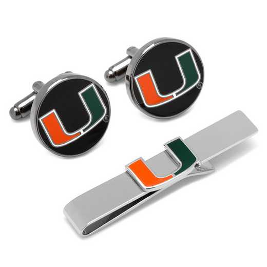 PD-MIA-CT: Miami Hurricanes Cufflinks and Tie Bar Gift Set