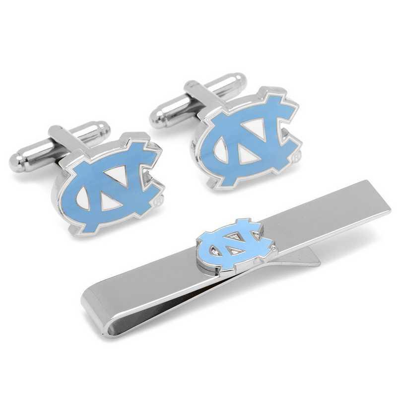 PD-NC-CT: North Carolina Tarheels Cufflinks and Tie Bar Gift Set