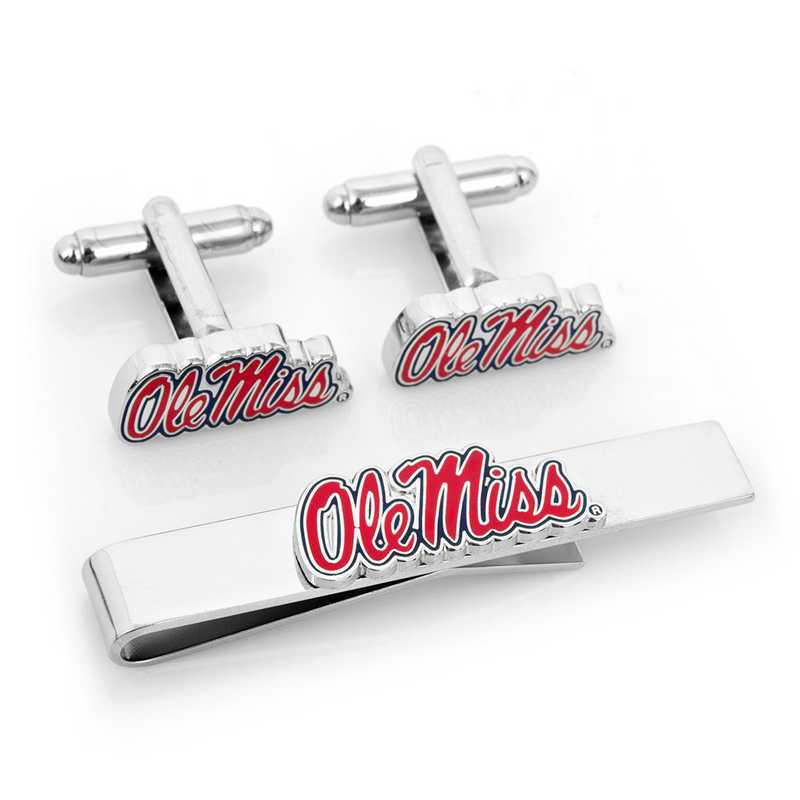 PD-OLE-CT: Ole Miss University Rebels Cufflinks and Tie Bar Gift Set