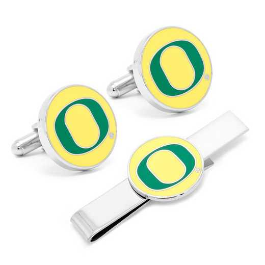 PD-ORG-CT: Oregon Ducks Cufflinks and Tie Bar Gift Set