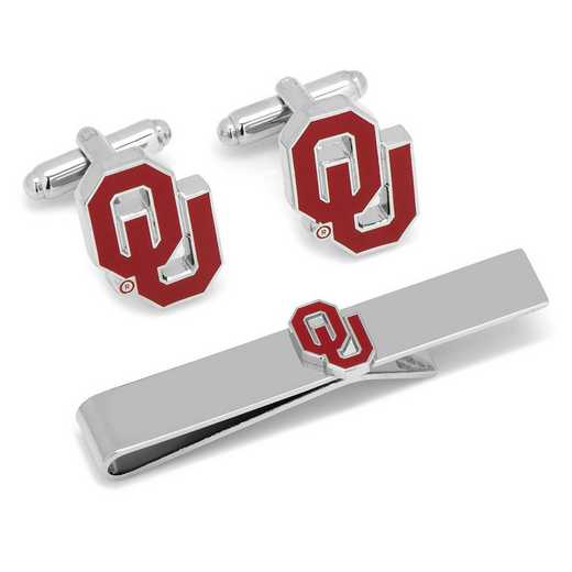 PD-OU-CT: University of Oklahoma Cufflinks and Tie Bar Gift Set