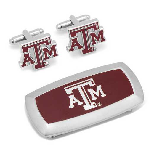 PD-TAMU-CM2: Texas A&M Aggies Cufflinks and Cushion Money Clip Gift Set