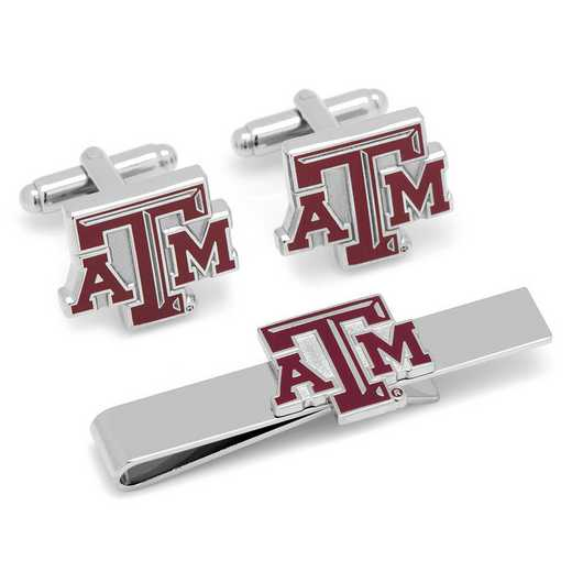 PD-TAMU-CT: Texas A&M Aggies Cufflinks and Tie Bar Gift Set
