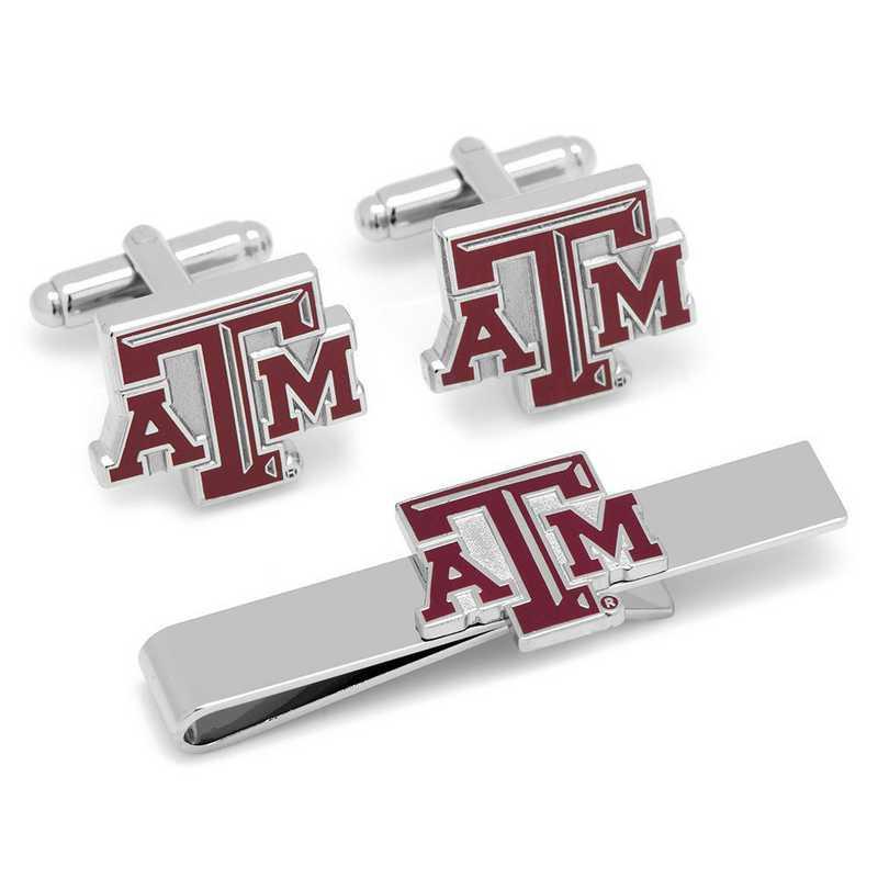 PD-TAMU-CT: Texas A&M Aggies Cufflinks and Tie Bar Gift Set