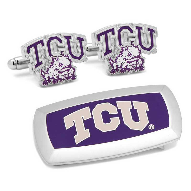PD-TCU-CM2: TCU Horned Frogs Cufflinks and Cushion Money Clip Gift Set