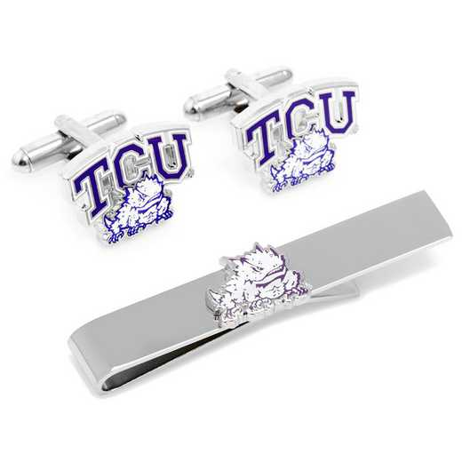 PD-TCU-CT: TCU Horned Frog Cufflinks and Tie Bar Gift Set