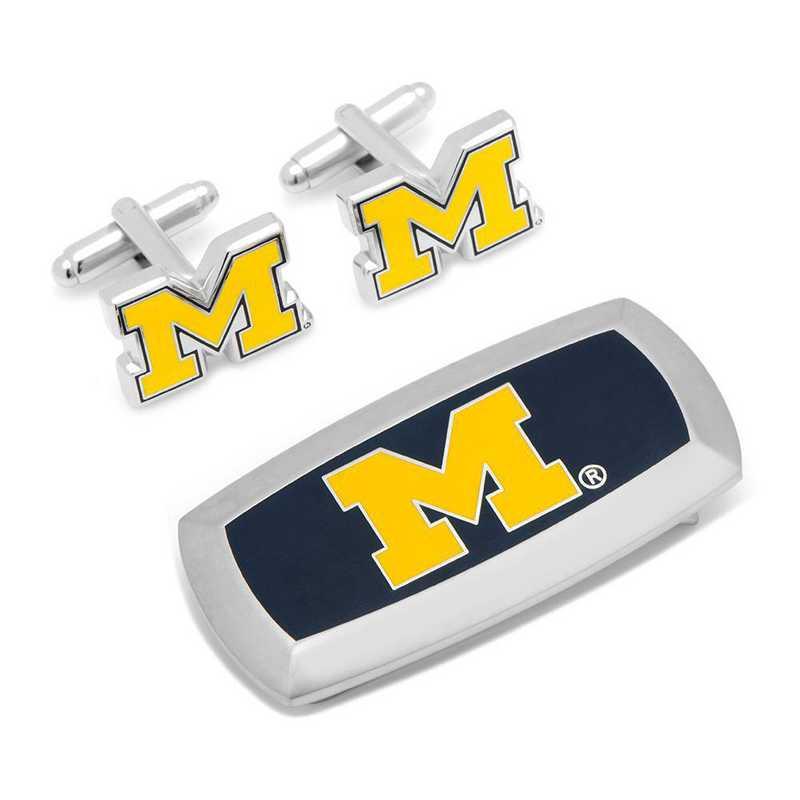PD-UMW-CM2: Michigan Wolverines Cufflinks and Cushion Money Clip Set