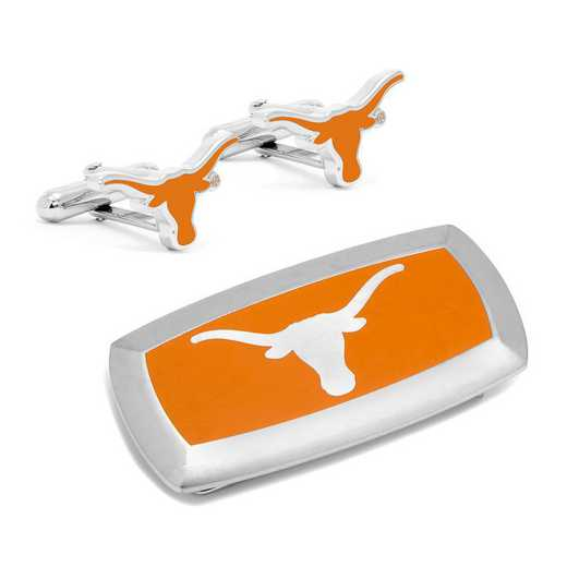 PD-UT-CM2: Texas Longhorns Cufflinks and Cushion Money Clip Gift Set