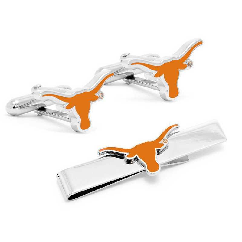 PD-UT-CT: Texas Longhorns Cufflinks and Tie Bar Gift Set