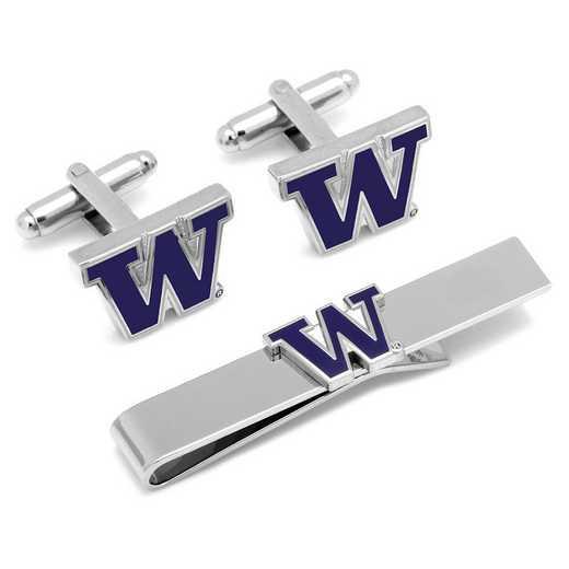 PD-WA-CT: University of Washington Cufflinks and Tie Bar Gift Set