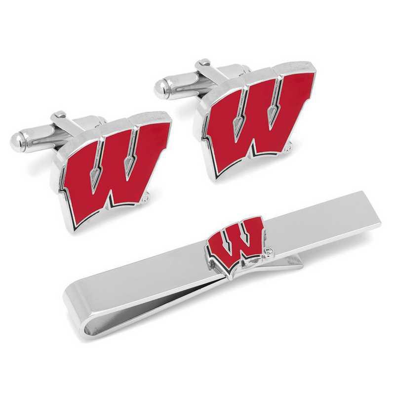 PD-WISC-CT: University of Wisconsin Badgers Cufflinks and Tie Bar Set