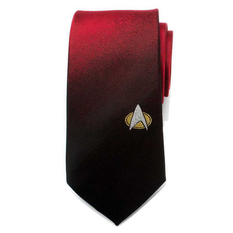 ST-TNGOMB-RD-TR: TNG Shield Red Ombre Men's Tie