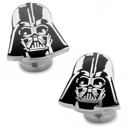 SW-DVH2-SL: Recessed Matte Darth Vader Head Cufflinks