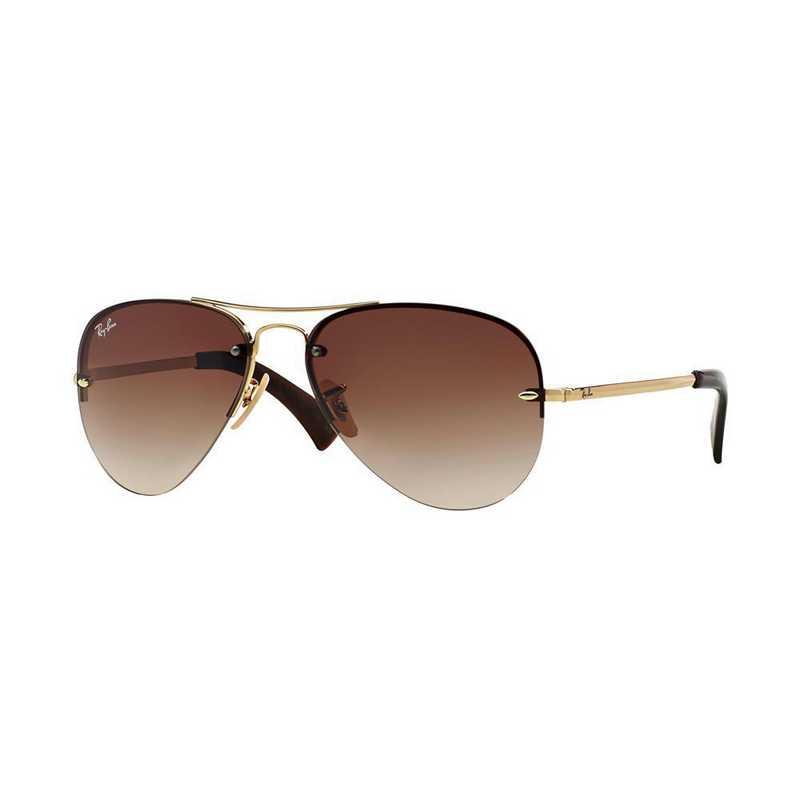 0RB34490011359: Aviator Sunglasses - Gold & Brown