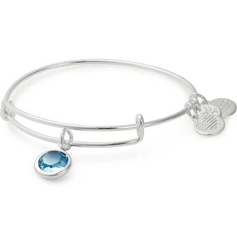 A19EB42SS: Alex and Ani March Birthstone Bangle - Aquamarine Crystal