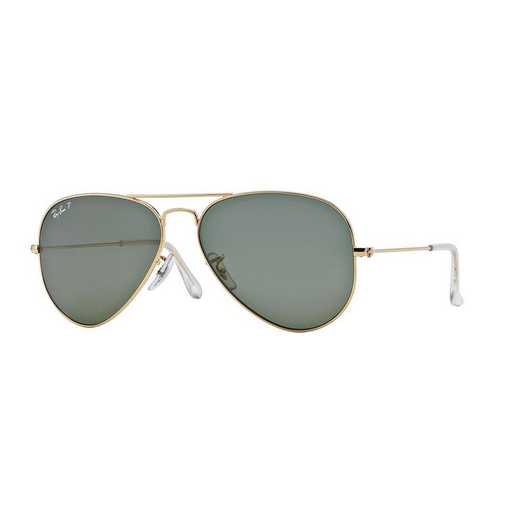 0RB30250015858: Polarized Aviator Sunglasses - Gold & Green
