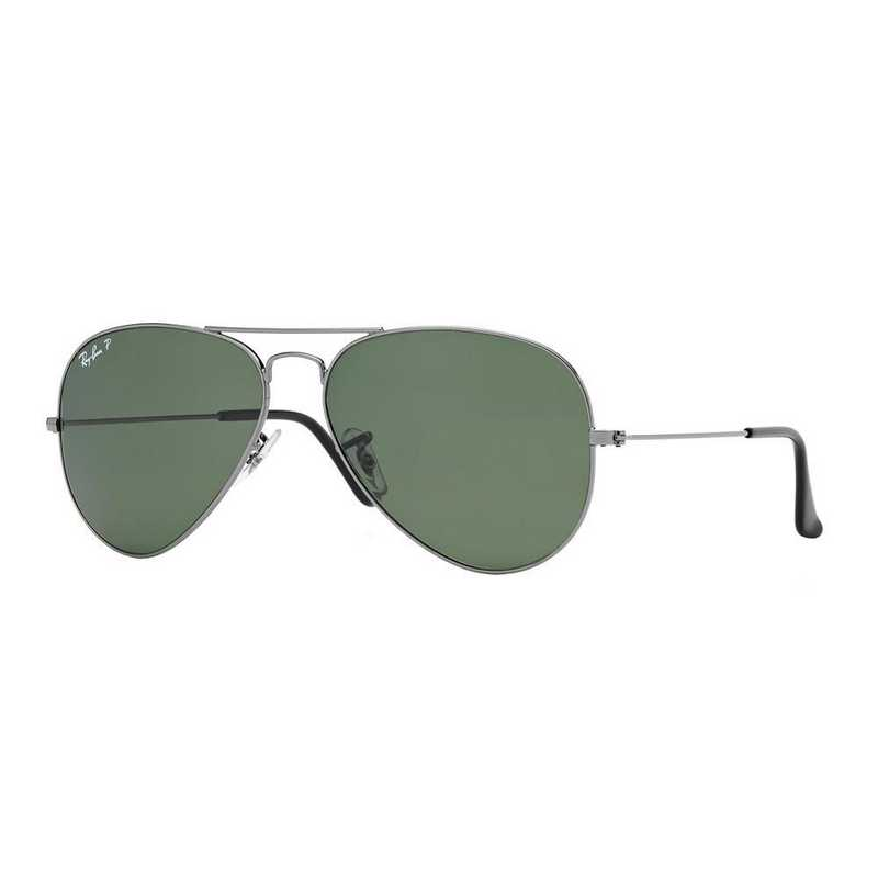 0RB30250045858: Polarized Aviator Sunglasses - Gunmetal & Green