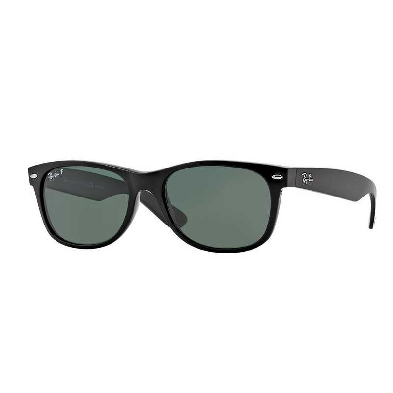 0RB21329015852: Polarized New Wayfarer Sunglasses - Black