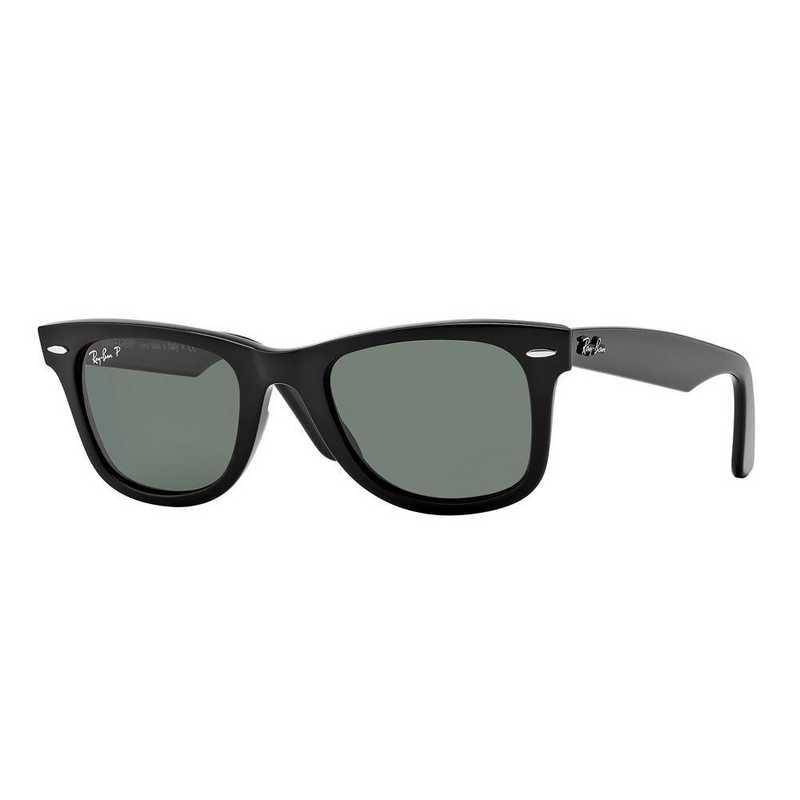 0RB21409015850: Polarized Wayfarer Sunglasses - Black & Green