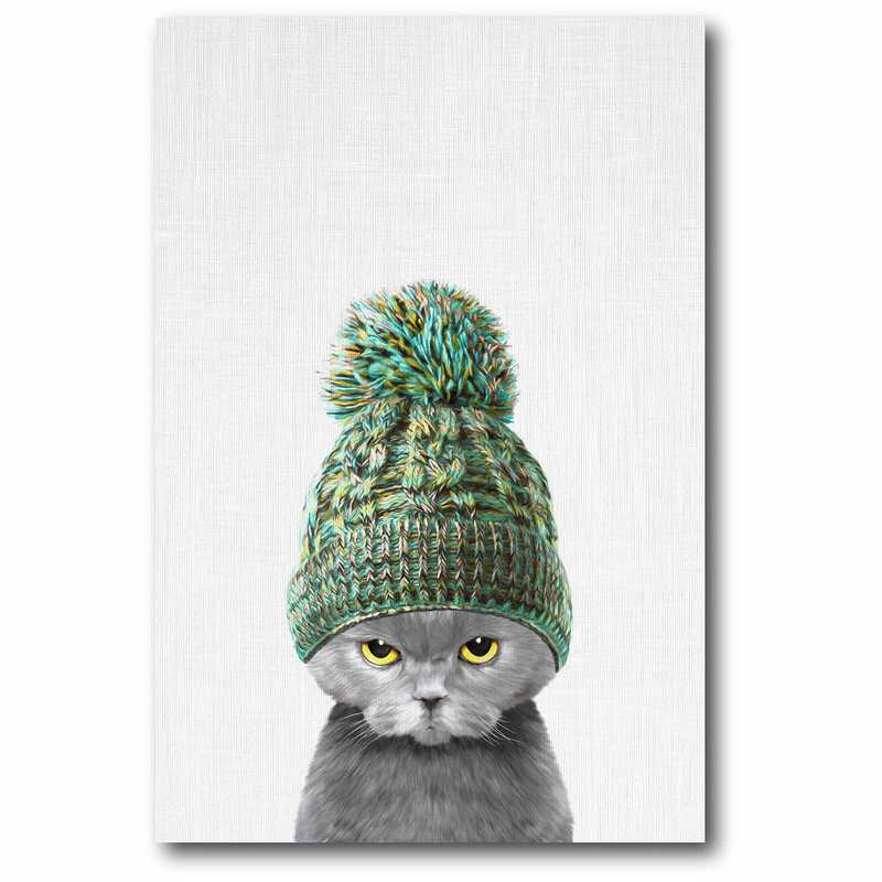 WEB-MV240-12x18: Kitten In Green Hat Canvas 12x18