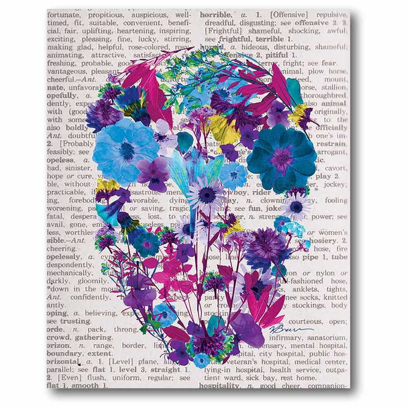 WEB-P185: Flower Skull I Canvas 16x20