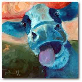 WEB-FF476: Lucy Cow Canvas 16x16