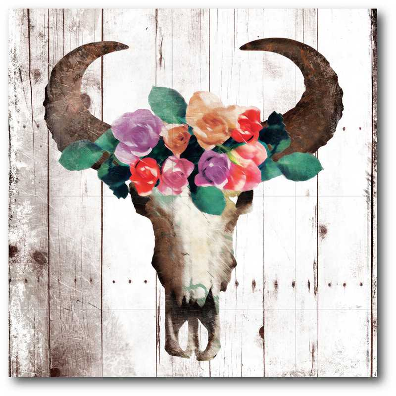 WEB-G243: Bull with Floral Crown Canvas 16X16