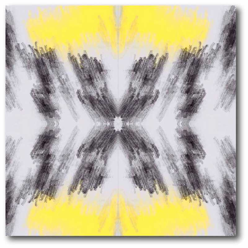 DEC-G218: Tie Dye Yellow/Grey Lg Wall Decal 50x50
