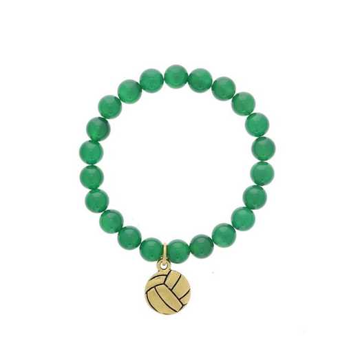DBJ-BRC-2804EGQ: Gold tone Pewter volleyball charm shown with green quartzite