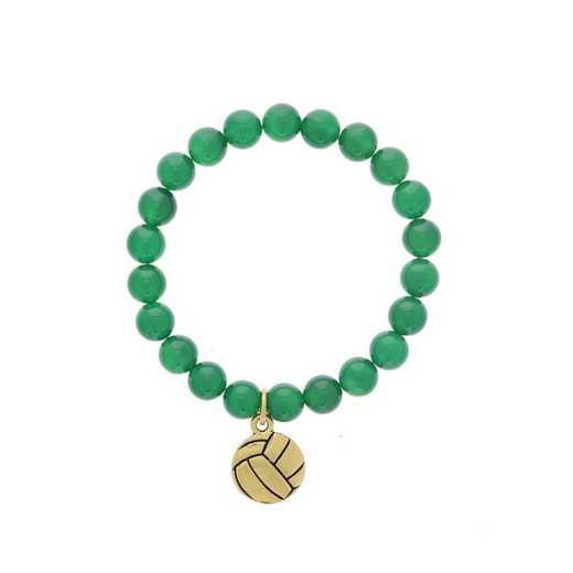 DBJ-BRC-2804EGQ: Gold tone Pewter volleyball charm shown with green quartzite