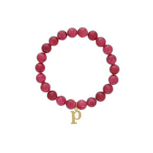 DBJ-BRC-2806RBY: Sterling silver w/gold plated initial charm & ruby agate